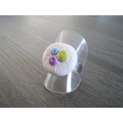 Ring clay marbles white earthenware green blue purple