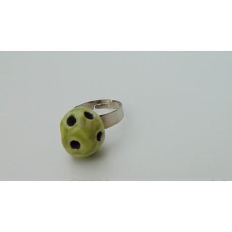 Bague verte abstraite céramique créatrice vendée
