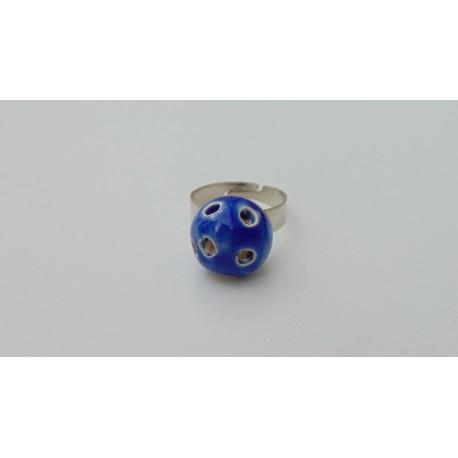 Bague bleu trous céramique créatrice vendée