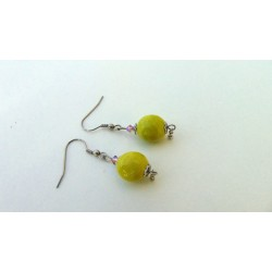 Boucles d'oreilles céramique verte