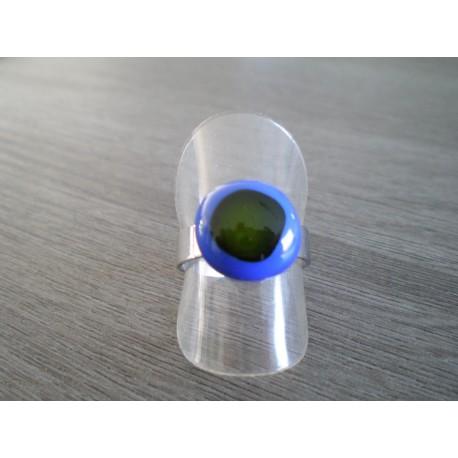 Bague verre fusing bleu et verte création française