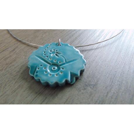 Colier céramique faïence turquoise