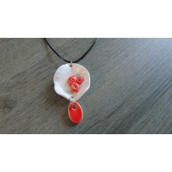 Red and white ceramic handcrafted necklace