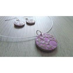 Parure céramique faïence brune émaillé violette sur acier inoxydable.