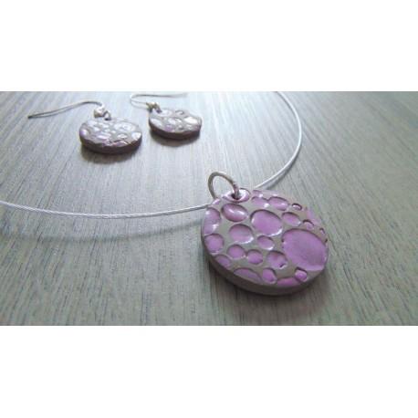 Parure céramique faïence émaillé violet sur acier inoxydable.