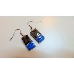 Boucles d'oreilles céramique bleu noir