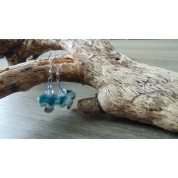 Boucles d'oreilles céramique fleur turquoise acier inoxydable faïence
