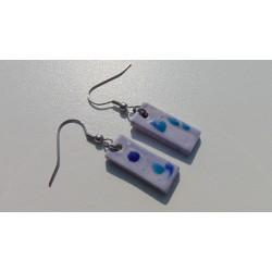 Boucles d'oreilles céramique bleu et turquoise acier inoxydable