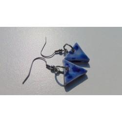 Boucles d'oreilles céramique violine acier inoxydable