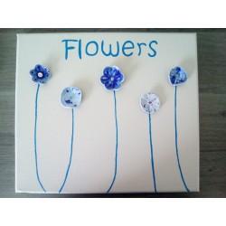 cadre céramique fleurs céramique bleu acier inoxydable faïence sur toile peinte