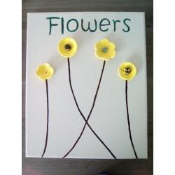 cadre acrylique céramique fleurs jaune acier inoxydable faïence sur toile peinte