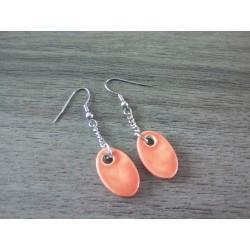 Boucles d'oreilles fantaisie céramique ovale saumon