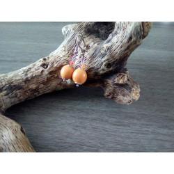 Boucles d'oreilles céramique orange
