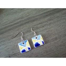 Boucles d'oreilles céramique carrées bleu vert blanc
