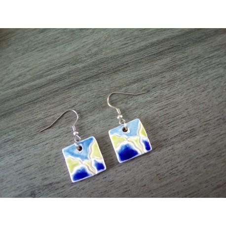 Boucles d'oreilles céramique carrées bleu, vert, blanc