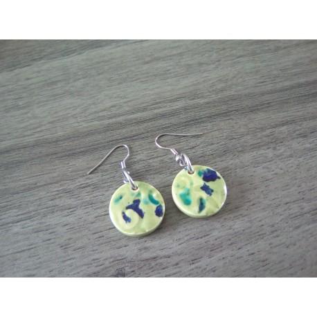 Boucles d'oreilles céramique carrées bleu vert