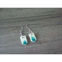Boucles d'oreilles céramique vert mousse et turquoise