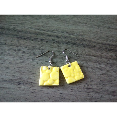 Boucles d'oreilles céramique jaune ronde