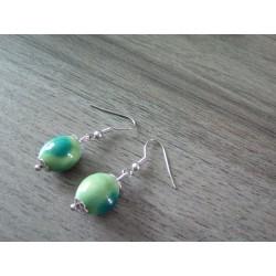 Boucles d'oreilles céramique vert turquoise