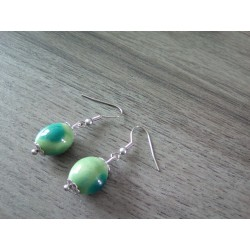 Turquoise green ceramic earrings