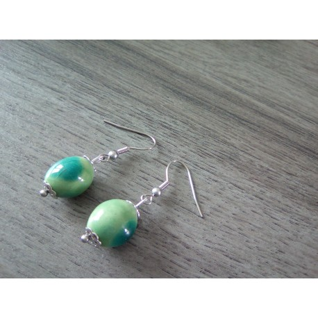 Boucles d'oreilles céramique vert et turquoise