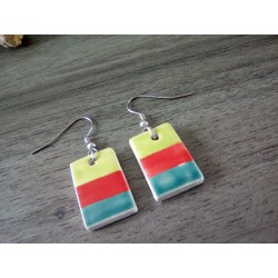 Green, red and turquoise ceramic earrings