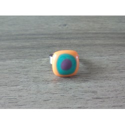 Fancy ring glass fusing orange turquoise purple stainless steel