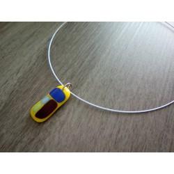 Yellow pendant in glass fusing craft creation the Mothe Achard Vendée