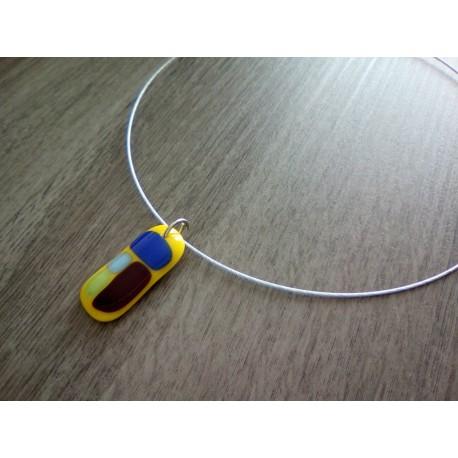 Pendentif jaune en verre fusing création artisanale la Mothe Achard vendée