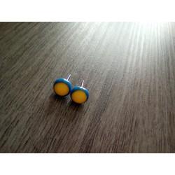 Boucles d'oreilles puce verre fusing bleu jaune d'or