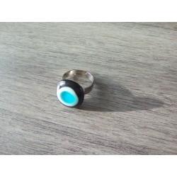Bague verre fusing blanche, noir et bleu turquoise