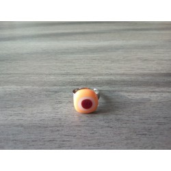 Fancy ring glass fusing orange white red stainless steel