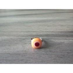 Bague fantaisie verre fusing orange blanc rouge acier inoxydable