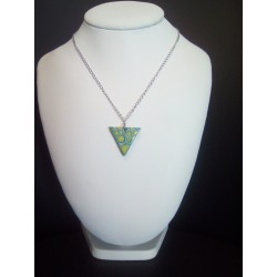 Ceramic yellow turquoise triangle necklace on stainless steel