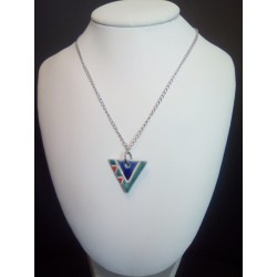 Collier céramique triangle bleu turquoise rouge sur acier inoxydable
