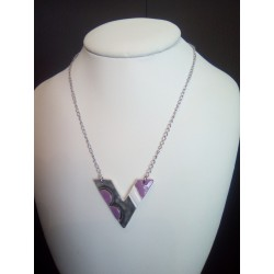 Ceramic black triangle white triangle necklace on stainless steel