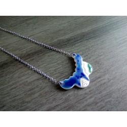 Collier céramique turquoise bleu et blanc sur acier inoxydable