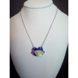 Blue, red, green and white ceramic hummingbird on stainless steel