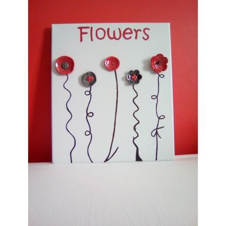 cadre céramique fleurs céramique rouge noir blanc acier inoxydable faïence sur toile peinte