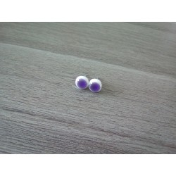 Earrings chip glass white fusing purple.