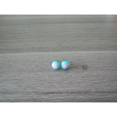 Boucles d'oreilles puce verre fusing bleu rose