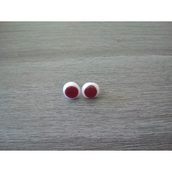 Earrings chip red fusing glass.