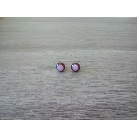 Boucles d'oreilles puce verre fusing rouge et rose inox.