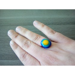 Bague fantaisie verre fusing bleu turquoise jaune acier inoxydable