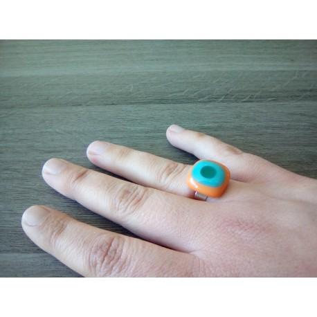 Bague fantaisie verre fusing orange bleu vert acier inoxydable