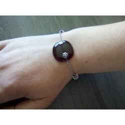 Bracelet verre fusing rouge artisanale sur acier inoxydable made in france vendée