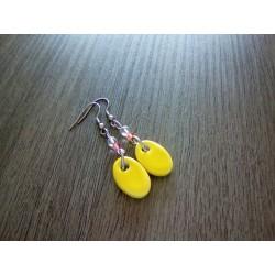 Boucles d'oreilles fantaisie céramique ovale jaune