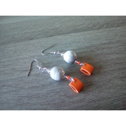 Grey and orange ceramic earrings