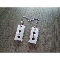 Grey and white ceramic earrings