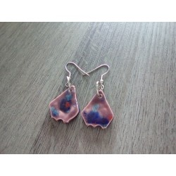Fancy ceramic earrings red brown blue